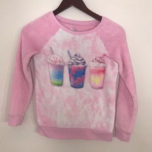 !Girls Justice Fuzzy Pink Milkshake Sweater!
